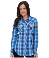 Rock And Roll Cowgirl Long Sleeve Snap Turquoise Women's Long Sleeve Button Up Blue