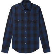 Tom Ford Slim Fit Checked Brushed Cotton Western Shirt Navy