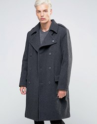 Weekday Major Military Overcoat Wool Double Breasted Belted 08 220 Grey Melange