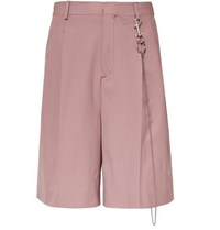 Cmmn Swdn Jayson Wide Leg Pleated Stretch Wool Shorts Pink