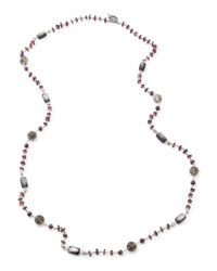 Verona Twisted Bead Necklace 40'L Stephen Dweck Silver