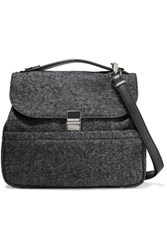 Proenza Schouler Leather And Melange Wool Blend Shoulder Bag Anthracite