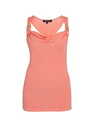 Morgan Sleeveless Top With Buckled Back Strap Coral