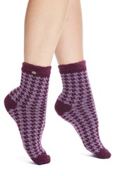 Women's Ugg Australia Houndstooth Fleece Crew Socks Purple Aster