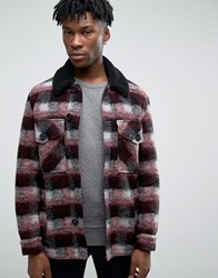 Asos Checked Peacoat With Borg Collar In Red Red