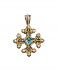 Konstantino Amphitrite Cushion Cut Topaz And Pearl Cross Pendant Enhancer Blue