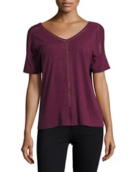 Lord And Taylor Double V Neck Tee Purple
