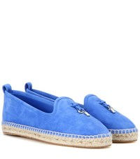 Loro Piana My Charms Suede Espadrilles Blue