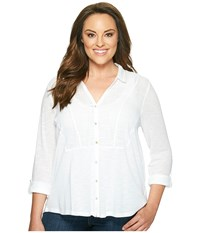 Lucky Brand Plus Size Woven Gauze Mixed Top Bright White Women's Long Sleeve Button Up