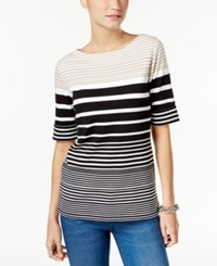 Karen Scott Striped Boat Neck T Shirt Only At Macy's Almond Khaki
