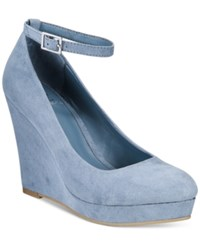 Material Girl Vivie Wedge Pumps Only At Macy's Women's Shoes Powder Blue