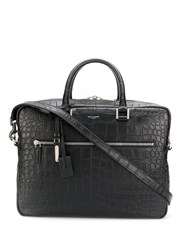 Saint Laurent Embossed Croco Briefcase Black
