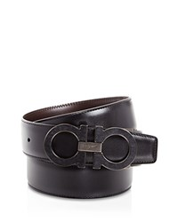 Salvatore Ferragamo Stone Double Gancini Belt Nero