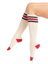 Ilux Zoe Sport Knee High Socks Soft White Midnight Black