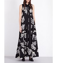 Chloe Leaf Embroidered Gown Blk Wht