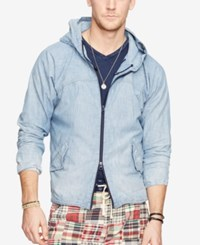Denim And Supply Ralph Lauren Chambray Hooded Jacket Navy