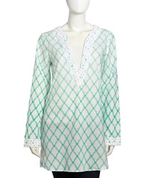 Xcvi Scrolling Crochet Lattice Print Tunic Seabreeze