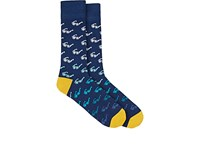 Corgi Men's Ombre Sunglass Print Mid Calf Socks Navy Blue Yellow