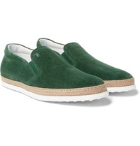Tod's Raffia Trimmed Suede Slip On Sneakers Green