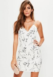 Missguided Petite White Floral Print Strappy Bodycon Dress