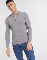 Brave Soul Knitted Long Sleeve Polo Gray
