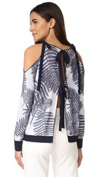 Tanya Taylor Palm Leaf Jacquard Sasha Sweater Navy White