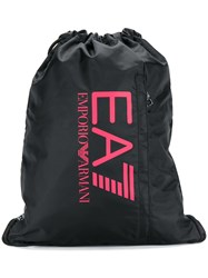 Emporio Armani Ea7 Logo Print Drawstring Backpack Black