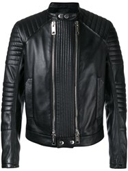 Les Hommes Double Zip Jacket Men Leather Viscose 50 Black