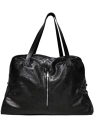 The Last Conspiracy Washed Leather Weekender Bag Black
