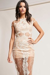 Forever 21 Sheer Lace Midi Dress Taupe