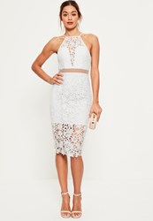 Missguided White Lace Strappy 2 Piece Midi Dress