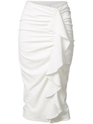Veronica Beard Drew Cascade Skirt White