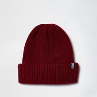 River Island Mens Dark Red Ribbed Knit Fisherman Hat