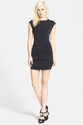 Bcbgeneration Cutout Faux Suede Trim Bodycon Dress Black