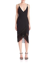 Nicholas Fringed V Neck Drape Dress Black