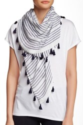 14Th And Union Stripe Square Tassel Scarf Blue