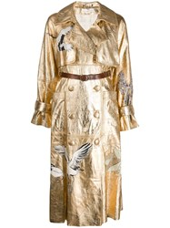 Golden Goose Embossed Double Buttoned Coat Gold