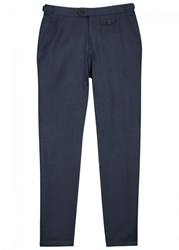 Oliver Spencer Linton Navy Linen Trousers