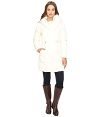 Cole Haan Bib Front Down Coat With Oversized Shawl Collar Ivory Women's Coat White