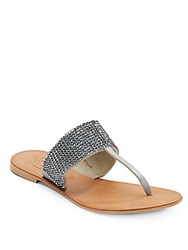 Joie Rhinestone Embellished Leather Thong Sandals