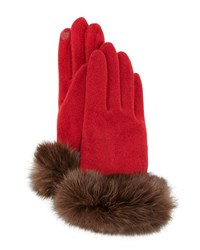 Portolano Fur Cuff Knit Tech Gloves Red Brown