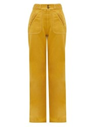 Marc Jacobs Runway Braided High Rise Cotton Flared Jeans Yellow