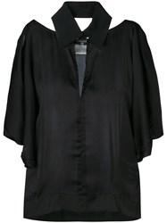 Chanel Vintage 2000 Cut Out Collared Blouse Black