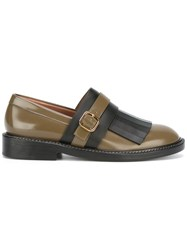 Marni Monk Strap Fringed Loafers Brown
