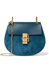 Chloe Drew Small Leather And Suede Shoulder Bag Blue