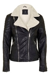 Biker Jacket With Shearling Collar By Rare Black