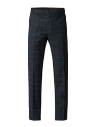 Gibson Navy Trousers With Blue Check Blue