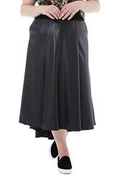 Elvi Plus Size Women's Faux Leather High Low Skirt