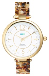 La Mer 'Sicily' Patterned Acetate Bracelet Watch 38Mm Tortoise Gold