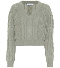 Ryan Roche Cashmere Cable Knit Sweater Green